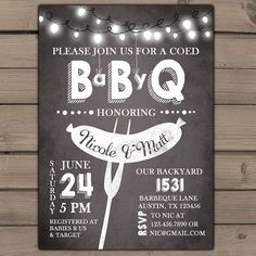 Baby Q invitation Coed Baby shower invite BBQ invitation co-ed shower Baby-Q shower Couples shower Chalk Chalkboard Digital Printable DIY