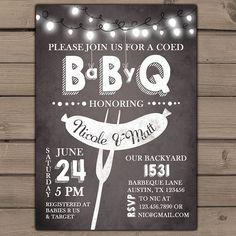 Baby Q invitation Coed Baby shower invite BBQ invitation co-ed shower Baby-Q shower Couples shower Chalk Chalkboard Digital Printable DIY
