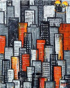 A small tonal #cityscape painting in grey and #orange hues. A lovely piece for your art collection. There is a real sense of naivety and fun to these pieces, simp...