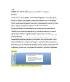 You will create an 8-10 slide (not including the title and reference slide) presentation in Microsoft PowerPoint. The presentation should provide an overview of the arguments, ideas, facts, and information students will be applying to their… (More)