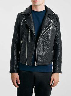 Black Leather Look Biker Jacket*