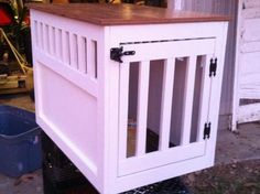 Large Wooden Dog Crate End Table   Do It Yourself Home Projects from Ana White This site has wonderful DIY projects