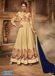 Versatile Beige Coloured Silk Semi stitched Anarkali salwar suit