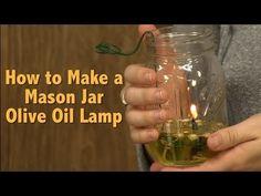 DIY Mason Jar Olive Oil Lamp - step by step tutorial, pics, video
