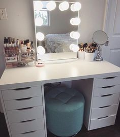Simplicity is key! Classic vanity station with a pop of blue