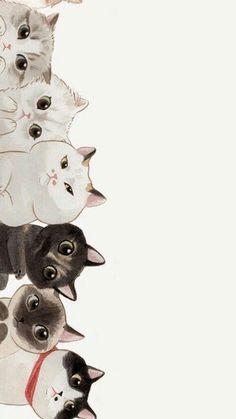 Trendy Wall Paper Cat Kawaii Phone Wallpapers Source by videos wallpaper cat cat memes cat videos cat memes cat quotes cats cats pictures cats videos Art And Illustration, Cat Illustrations, Landscape Illustration, Wallpaper Gatos, Cat Wallpaper, Cat Pattern Wallpaper, Unique Wallpaper, Painting Wallpaper, Cartoon Wallpaper