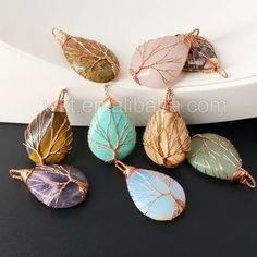 WT-P932 New!!! Wholesale 30*40mm Teardrop Gemstone Pendant Jewelry Findings,Copper Wire Wrapped Tree Of Life Drop Stone Pendant by WKTjewelry on Etsy