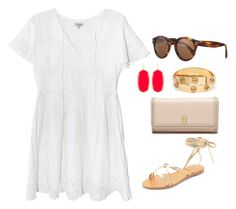 """pop of red"" by kcunningham1 ❤ liked on Polyvore featuring by TiMo, Tory Burch, Illesteva, Kendra Scott and Raye"
