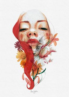 Learn to combine traditional techniques and digital retouching with Photoshop in this Domestika online course. Art And Illustration, Illustrations And Posters, Watercolor Illustration, Arte Inspo, Kunst Inspo, Watercolor Face, Watercolor Portraits, Art Sketches, Art Drawings