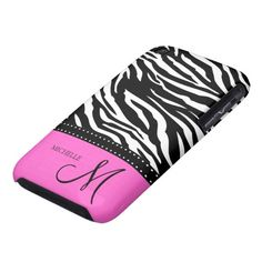 Black & White Zebra stripes with hot pink Case-Mate iPhone 3 Cases