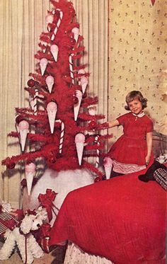 Red ice cream cone Christmas tree + poodle + adorable girl in a pretty red dress = BIG WIN! Vintage Christmas Photos, Retro Christmas, Christmas Items, Vintage Holiday, A Christmas Story, Christmas Pictures, Christmas Design, Vintage Photos, Ghost Of Christmas Past