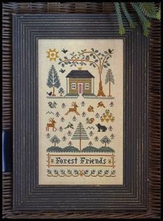 Forest Friends is the title of this cross stitch pattern from Little House Needleworks that is stitched with Clasic Colorworks (Camouflage, Black Coffee, Roasted Chestnut) and DMC threads.