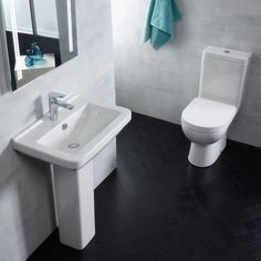 With a projection of 410mm the square shaped Ion basin features a spacious wash area and a centred tap hole. The Ion close coupled pan is as appealing as it is versatile. The ideal solution for smaller bathrooms with a projection of only 600mm making it smaller than the average toilet without out compromising on the size of the toilet seat. #bathroom #bathroomsuites #toilets #basins #baths #modernbathroomsuites #suites