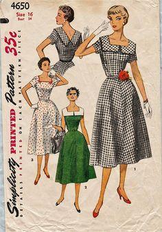 Cartamodello di semplicità 4650   Vintage 50s   vestito   Modello Vintage 3d23352fdb75
