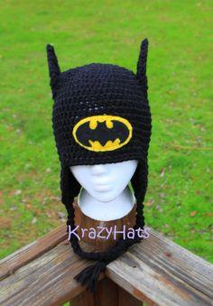 Crochet batman hat by KrazyHats1 on Etsy, $25.00