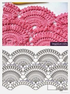 Marvelous Crochet A Shell Stitch Purse Bag Ideas. Wonderful Crochet A Shell Stitch Purse Bag Ideas. Crochet Lace Edging, Crochet Borders, Crochet Diagram, Crochet Stitches Patterns, Crochet Chart, Crochet Doilies, Stitch Patterns, Knitting Patterns, Crochet Top