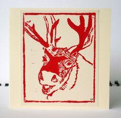 My smiling reindeer christmas card (linocut)