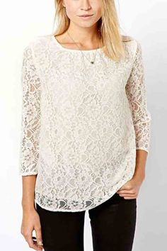White Lace Cut Out Three Quarter Sleeve T-shirt @kobykraft I'm thinking top like this, mint green skirt. Boom. Done.