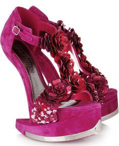 e09871c790a3 alexander mcqueen Enameled Flower Suede Platform Sandals - Lyst YES!
