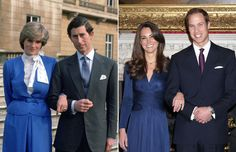 """No one could have been more thrilled when William announced his engagement to his university sweetheart Kate Middleton. His mother would have been very proud. To underline her connection to the happy day the future king presented his bride-to-be with his late mother's spectacular 12 carat sapphire and diamond ring that sealed his parents betrothal nearly 30 years before. In this photo, if it appears that Diana and Kate are the same height...they are!! Both of these royal ladies are 5' 10""""…"""