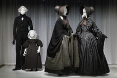 "#DeathBecomesHer Gallery View. | The exhibition ""Death Becomes Her: A Century of Mourning Attire,"" on view through February 1, 2015, explores the aesthetic development and cultural implications of mourning fashions of the nineteenth and early twentieth centuries. Approximately thirty ensembles, many of which are being exhibited for the first time, reveal the impact of high-fashion standards on the sartorial dictates of bereavement rituals as they evolved over a century. #Halloween"