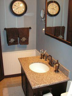 Blue Bathroom-Blue - Farm & Fleet, Legend - Gunmetal   Brown - Home Depot, Behr - Bear Rug