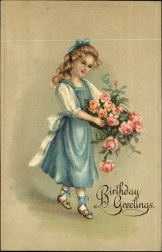 Birthday Greeting Girl Pretty Dress & Hair Bow Roses Embossed c1910 Postcard picclick.com