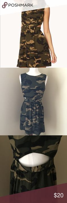 Forever 21 Camouflage Waist Cut-Out Dress Be ready for festival season with this super cute camo cut-out. Scoop neck-line in the front with a v-back and zip. Material is 100% polyester. #forever21camodress, #camodress, #camo Forever 21 Dresses Midi