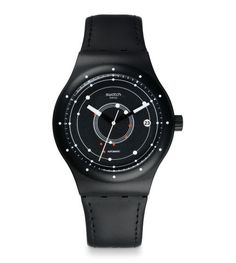 """Swatch: SISTEM51 in """"Black"""" / """"...100 percent Swiss made and features an exceptional 90 hour power reserve. Hermetically sealed within its case, the 3 Hz movement delivers precise, long-lasting, maintenance-free performance..."""""""