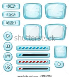 Cartoon Icy Elements For Ui Game/ Illustration of a set of various cartoon design ui ice glossy elements including banners, signs, buttons, load bar and app icon background for tablet pc - stock vector