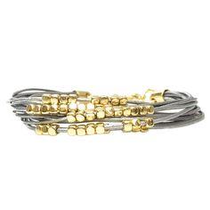 Multi Strand Silver Gold Beads Fashion Bracelet Wb1343Gsil #HNR