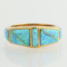 Genuine Opal Fashion Band  14k Yellow Gold Ring by WilsonBrothers, $434.99