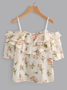 Shop Open Shoulder Tiered Floral Print Random Blouse at ROMWE, discover more fashion styles online. Classy Outfits, Pretty Outfits, Beautiful Outfits, Casual Outfits, Cute Outfits, Crop Top Designs, Summer Outfits, Girl Outfits, Belly Shirts