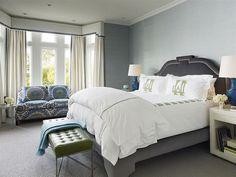 Cornice, Grey Grasscloth, Velvet Bed