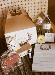 Wedding guest welcome boxes