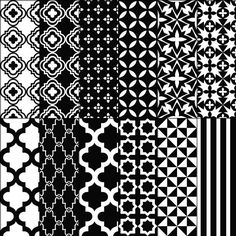 Digital paper pack moroccan stencil trellis damask quatrefoil white black