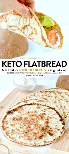 Coconut Flour flatbread - vegan + keto tortillas - Sweetashoney - KETO FLATBREAD NO eggs, Coconut flour, 4 ingredients - Low Carb Bread, Low Carb Keto, Low Carb Recipes, Diet Recipes, Coconut Flour Recipes Keto, Bread Diet, Keto Fat, No Flour Recipes, Coconut Flour Baking