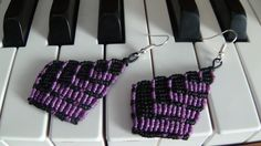 Purple and black handmade macrame drop earrings by Vicrame on Etsy
