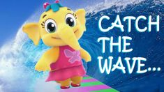 Catch this super lively and exciting animated surf song 'CATCH A WAVE' featuring our favorite superstar all dressed up in her . Rhymes Collection, Kids Songs, Ocean Waves, Nursery Rhymes, Elephant, Christmas Ornaments, Big, Holiday Decor, Animals
