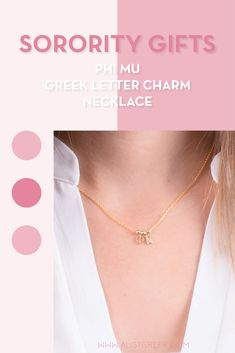 Sorority charm necklaces are the easiest gift for any celebration: Recruitment, Bid Day, Back to School & Big/Little. Spoil your new sorority girl with our simple and dainty Greek letter charm necklace! Phi Mu Gifts   Phi Mu Bid Day   Phi Mu Necklace   Phi Mu Jewelry   Sorority Bid Day & Recruitment   Sorority Jewelry Gifts   Sorority College Gift   Sorority New Member Gift Ideas   Dainty Jewelry   Simple Gold Charm Necklace #SororityGifts #SororityJewelry Letter Charm Necklace, Charm Necklaces, Cute Necklace, Letter Charms, Simple Jewelry, Dainty Jewelry, Jewelry Gifts, Phi Mu, Sorority Gifts