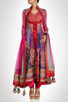This high neck long anarkali suit is in purple color silk. Each kali of this anarkali suit is of different designer silk fabric. Sleeves and dupatta of this anarkali suit is in Pink color which gives Long Anarkali, Anarkali Dress, Anarkali Suits, Punjabi Suits, Lehenga Choli, India Fashion, Ethnic Fashion, Boho Fashion, Morrocan Fashion