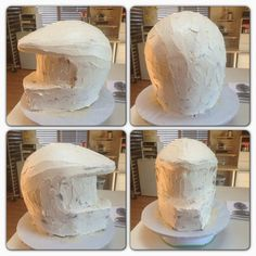 Halo Helmet Tutorial--This is what Micah wants! Dirt Bike Kuchen, Fondant Cakes, Cupcake Cakes, Cupcakes, Bolo Motocross, Bolo Glamour, Halo Birthday Parties, Cake Birthday, Halo Cake