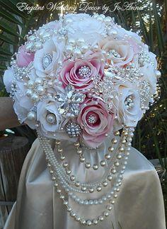 CLASSIC JEWELRY BOUQUET Pink and Ivory by Elegantweddingdecor