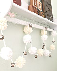Christmas White & Ivory Pom Pom Yarn Garland by LollysCubbyHole