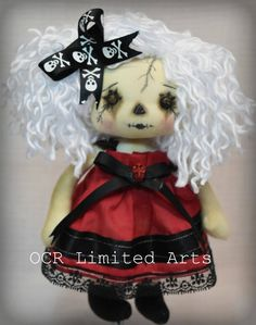 Gothic doll LOTUS rag Goth Tattered spooky skull emo collectible creepy cute Stitches Broken china gift Handmade Art Doll OOAK by OCRLimitedArts on Etsy