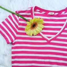 | J. Crew | Striped Tee Pink and white striped tee! Fits like a Small J. Crew Tops Tees - Short Sleeve