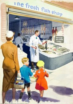 Fishmonger - Shopping with Mother - Ladybird Books 1958