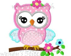 owl on flower tree machine embroidery design by FunStitch on Etsy