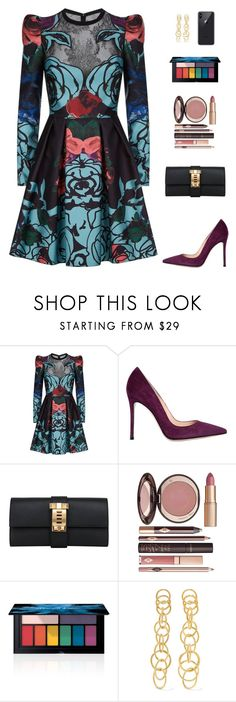 """Untitled #5262"" by mdmsb on Polyvore featuring Elie Saab, Gianvito Rossi, Hermès, Charlotte Tilbury, Smashbox and Buccellati"