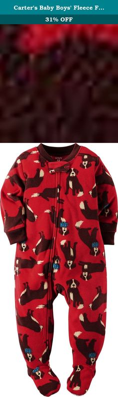 Carters Baby Boys Fleece Footie Pjs Dog Print (18 Months, Red). Ribbed neck and cuffs Allover dogs.